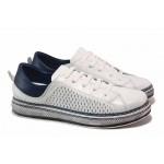 Равни дамски обувки от естествена кожа, анатомични, шито ходило, перфорация / МИ 1101 бял-син / MES.BG