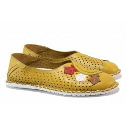 Равни дамски обувки от естествена кожа, шито ходило, перфорация / МИ 756-31 жълт / MES.BG