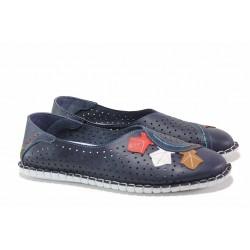 Равни дамски обувки тип ''пантофки'', естествена кожа, шито ходило, перфорация / МИ 756-30 син / MES.BG