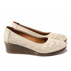 Анатомични дамски обувки, изцяло от естествена кожа, удобна платформа / МИ 46-48-01 бежов / MES.BG