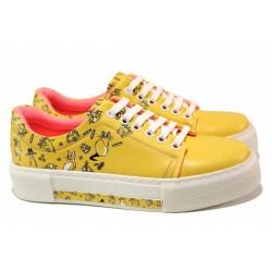Комфортни юношески спортни обувки в актуален за сезона цвят и шито ходило / ТЯ 202 жълт котки / MES.BG