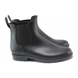 Комфортни гумени дамски боти за мокро време, еластично ходило / АБ KAL 01-21 черен / MES.BG
