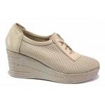 Български дамски обувки, естествена кожа с перфорация, анатомични / НЛ 341-96145 бежов / MES.BG