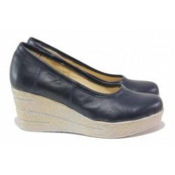 Дамски обувки на платформа, естествена кожа, анатомични, олекотени / НЛ 299-96145 син / MES.BG