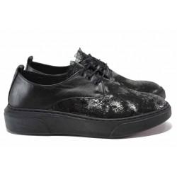 Дамски ортопедични спортни обувки с красива дантела, естествена кожа / СИ 2108-21002 черен / MES.BG
