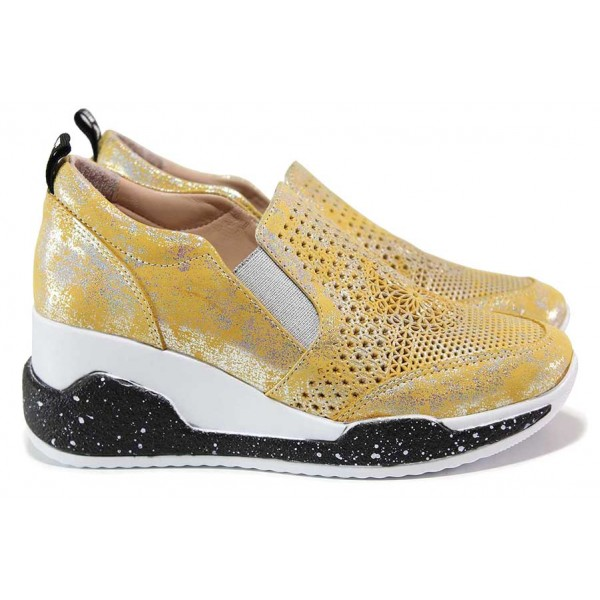 Анатомични, олекотени дамски спортни обувки, естествена кожа, удобна платформа / МИ 346 жълт / MES.BG
