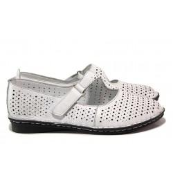 Анатомични, олекотени дамски обувки, естествена кожа, велкро / МИ 730 бял / MES.BG