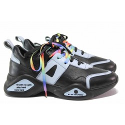 Актуален модел спортни обувки, естествена кожа, анатомични / МИ 397 черен-син / MES.BG
