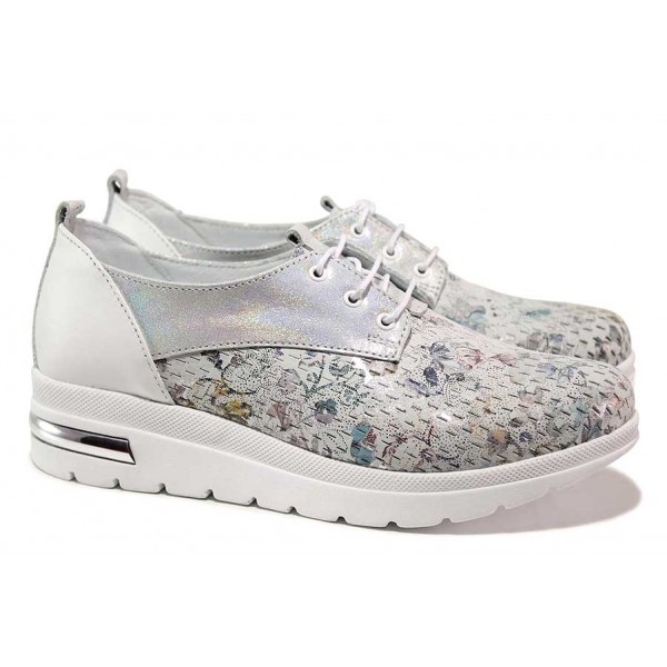 Ефектни дамски обувки с флорален мотив, анатомични, естествена кожа / СИ 205-15491 бял цветя / MES.BG
