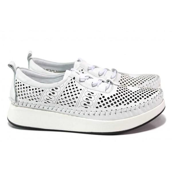 Дамски анатомични обувки, естествена кожа с перфорация, леки, гъвкави / ТЯ 606-1 бял / MES.BG