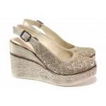 Анатомични дамски обувки с отворена пета, естествена кожа, олекотена платформа / ТЯ 467 бежов / MES.BG