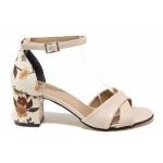 Ефектни дамски сандали с облечен ток, естествена кожа, затворена пета / ТЯ 118 бежов цветя / MES.BG