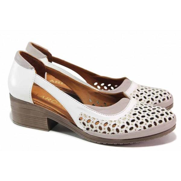 Дамски обувки на среден ток, естествена кожа с перфорация / ТЯ 01-47 бял / MES.BG