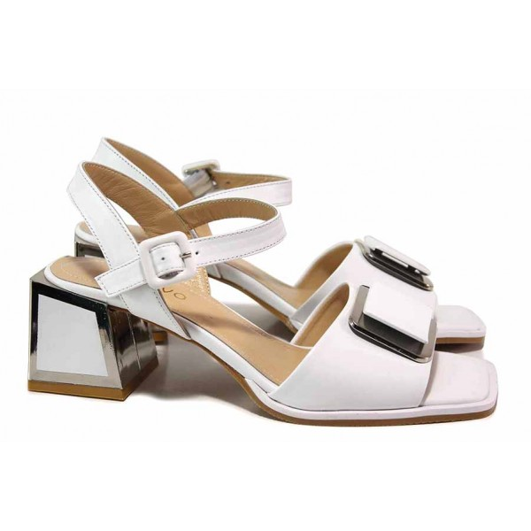 Екстравагантни дамски сандали с красив декоративен елемент, естествена кожа, квадратен ток / ФА 1107 бял / MES.BG