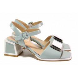 Дамски сандали с ефектен ток, естествена кожа, декоративна катарама / ФА 1107 св.зелен / MES.BG