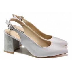 Елегантни дамски обувки, ефектен облечен ток, отворена пета / ФА 698 сив / MES.BG