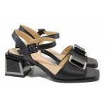 Ефектни дамски сандали с квадратен ток, естествена кожа / ФА 1107 черен / MES.BG