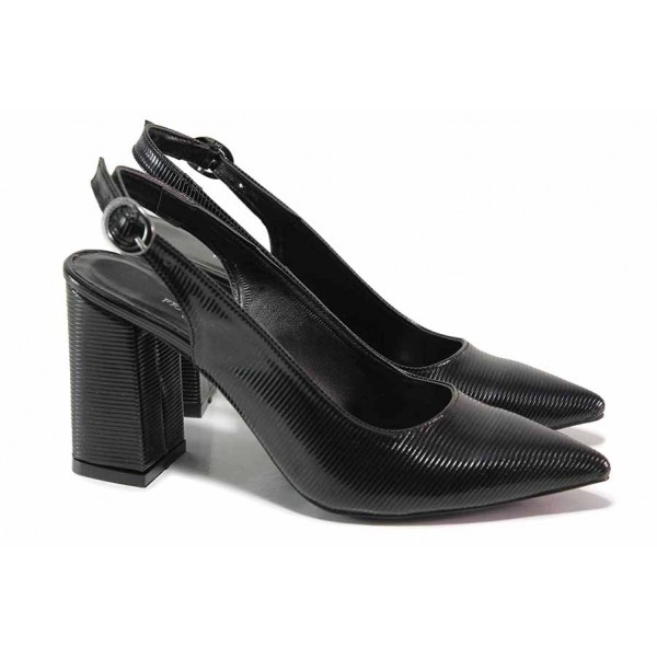 Ефектни дамски обувки, отворена пета, стабилен ток / ФА 1198 черен / MES.BG