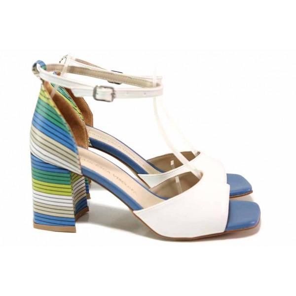 Стилни дамски сандали с впечатляващ дизайн / ФА 293 бял / MES.BG