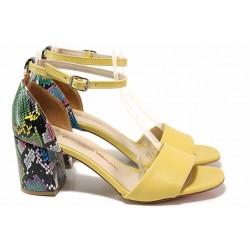 Ефектен модел дамски сандали със змийски мотив / ФА 869 жълт змия / MES.BG