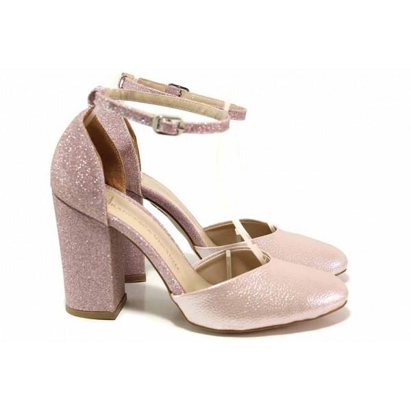 Стилни дамски обувки с отворена пета, брокатен широк ток / ФА 596 розов / MES.BG