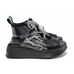 Ефектни дамски сандали със змийски принт, платформа, естествена кожа / ТЯ 075 черен питон / MES.BG