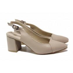 Дамски обувки с отворена пета, естествена кожа, заострен връх / ФА 739 бежов / MES.BG