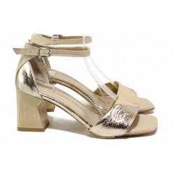 Атрактивни дамски сандали, естествена кожа, ток, затворена пета / ТЯ 285 бежов-злато / MES.BG