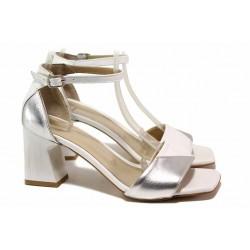Стилни дамски сандали, естествена кожа, двуцветни, висок ток / ТЯ 285 сребро-бял / MES.BG