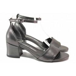 Класически дамски сандали, ефект-сатен, каишка на глезена / ТЯ 869 графит-сатен / MES.BG