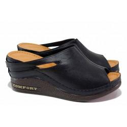 Дамски чехли ''тип сабо'', естествена кожа, анатомични, ластик за разширяване / МИ 258 черен / MES.BG