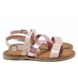 Равни дамски сандали в нежно розов цвят, естествена кожа / МИ 802 сив-розов / MES.BG