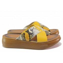 Олекотен модел дамски чехли, естествена кожа, змийски принт / МИ ARELLA-2 жълт / MES.BG