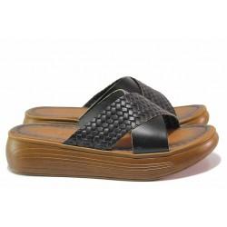 Удобни дамски чехли с кръстосани ленти, естествена кожа, олекотени / МИ ARELLA-2 черен / MES.BG