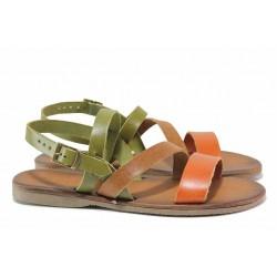 Дамски сандали от естествена кожа, интересна цветова комбинация, катарама / МИ 802 зелен-кафяв / MES.BG