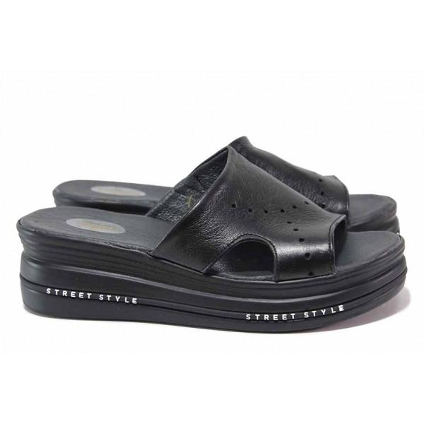 Български чехли на платформа, анатомични, естествена кожа / НЛ 349-248 черен / MES.BG
