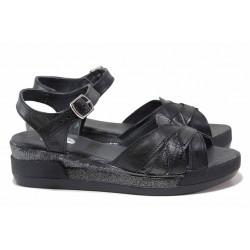 Анатомични български сандали, естествена кожа, асиметрични ленти / НЛ 202-8218 черен питон-бакър / MES.BG