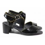 Стилни дамски сандали, естествена кожа-лак, анатомични / НЛ 347-527 черен-жълт / MES.BG