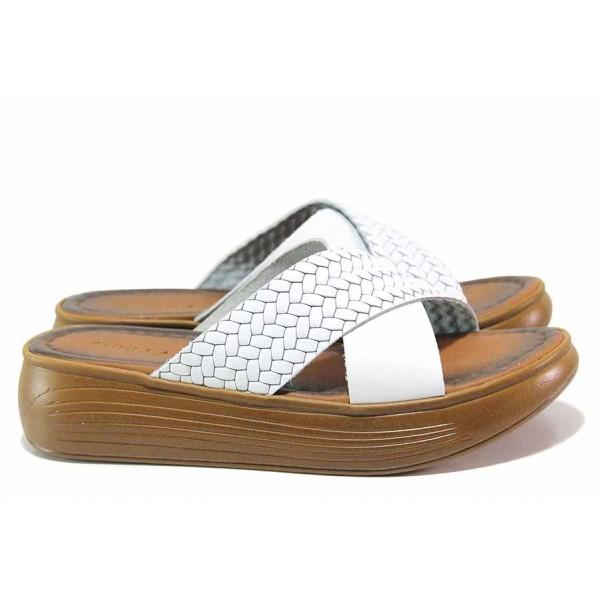 Дамски олекотени чехли, естествена кожа, кръстосани ленти / МИ ARELLA-2 бял / MES.BG