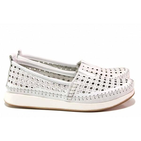 Кожени дамски обувки с перфорация, ортопедични, естествена кожа / ТЯ ММ-05 бял / MES.BG