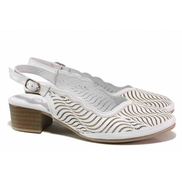 Комфортни дамски обувки с красива перфорация, естествена кожа, стабилен ток / ТЯ 482 бял / MES.BG