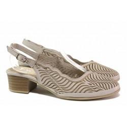 Удобни дамски обувки, отворена пета, естествена кожа, среден ток / ТЯ 482 бежов / MES.BG