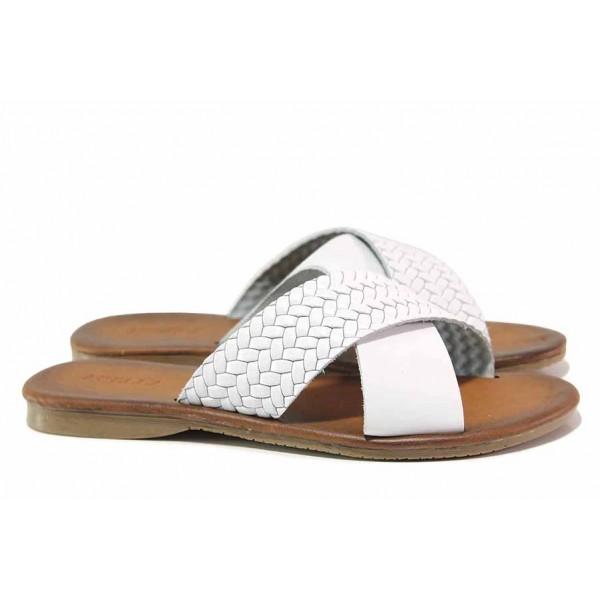Олекотен модел дамски чехли, естествена кожа, кръстосани ленти / МИ 901 бял / MES.BG