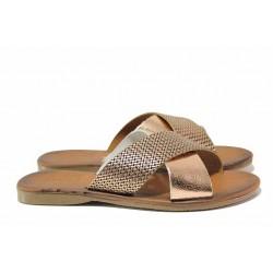 Модерни дамски чехли, естествена кожа, равни / МИ 901 златен / MES.BG