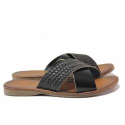 Комфортни дамски чехли, естествена кожа, гъвкава подметка / МИ 901 черен / MES.BG