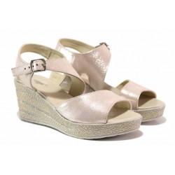 Български сандали в нежно розов цвят, естествена кожа, анатомични / НЛ 347-96145 пудра сатен / MES.BG