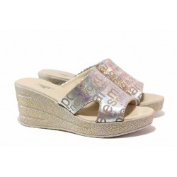 Български дамски чехли, естествена кожа, анатомични / НЛ 349-96145 сребро букви / MES.BG