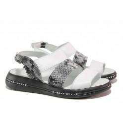 Анатомични дамски сандали, естествена кожа, змийски принт / НЛ 330-189 бял питон / MES.BG