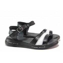 Модерни дамски сандали, български, естествена кожа, анатомични / НЛ 308-189 черен-бял / MES.BG