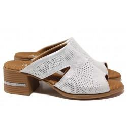 Сребристи чехли на стабилен ток, анатомични, естествена кожа / МИ 425-28 бял-сребро / MES.BG